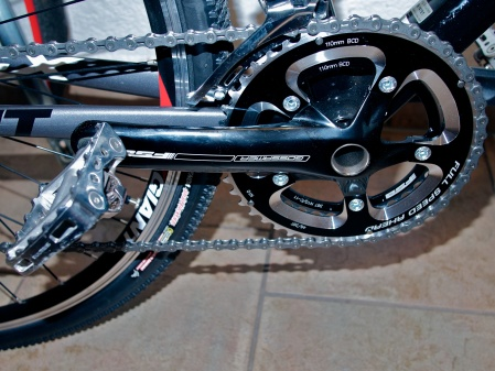 The 46/39 chainwheels together with  a wide spread cassette