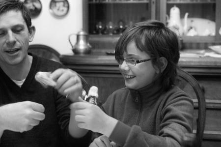 Binning Polly Pocket dolls with a friend