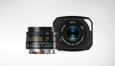 In size and appearance, it is modest. The hood, shown here in Leica's product photo head-on, adds length but doesn't intrude into the finder image much.