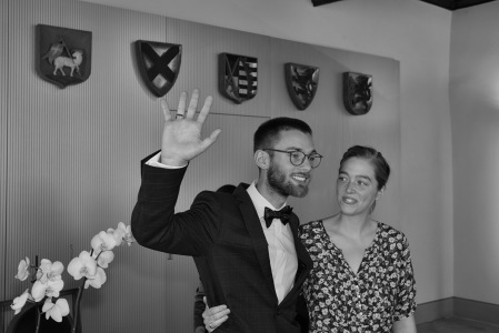A legally married couple, happy!