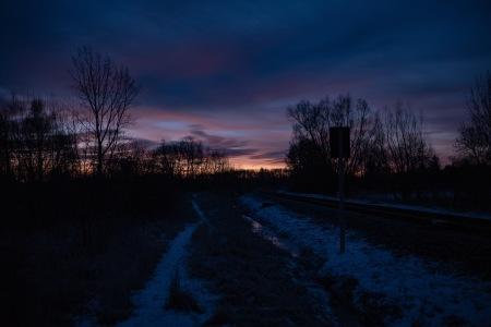 Along the railroad tracks