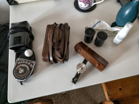 A lightmeter, a camera, a rangefinder, some film. All you need.
